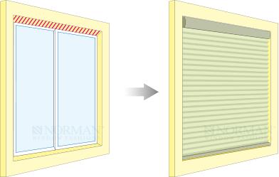 窓枠天井付け(窓枠の内側に取付けること)